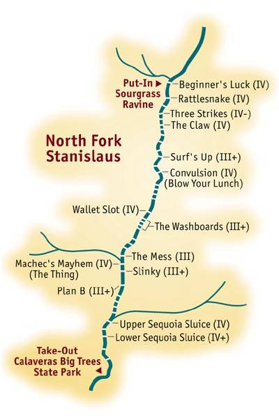 White Water Rafting California Map.Mile By Mile Whitewater Rafting Guide North Fork Stanislaus